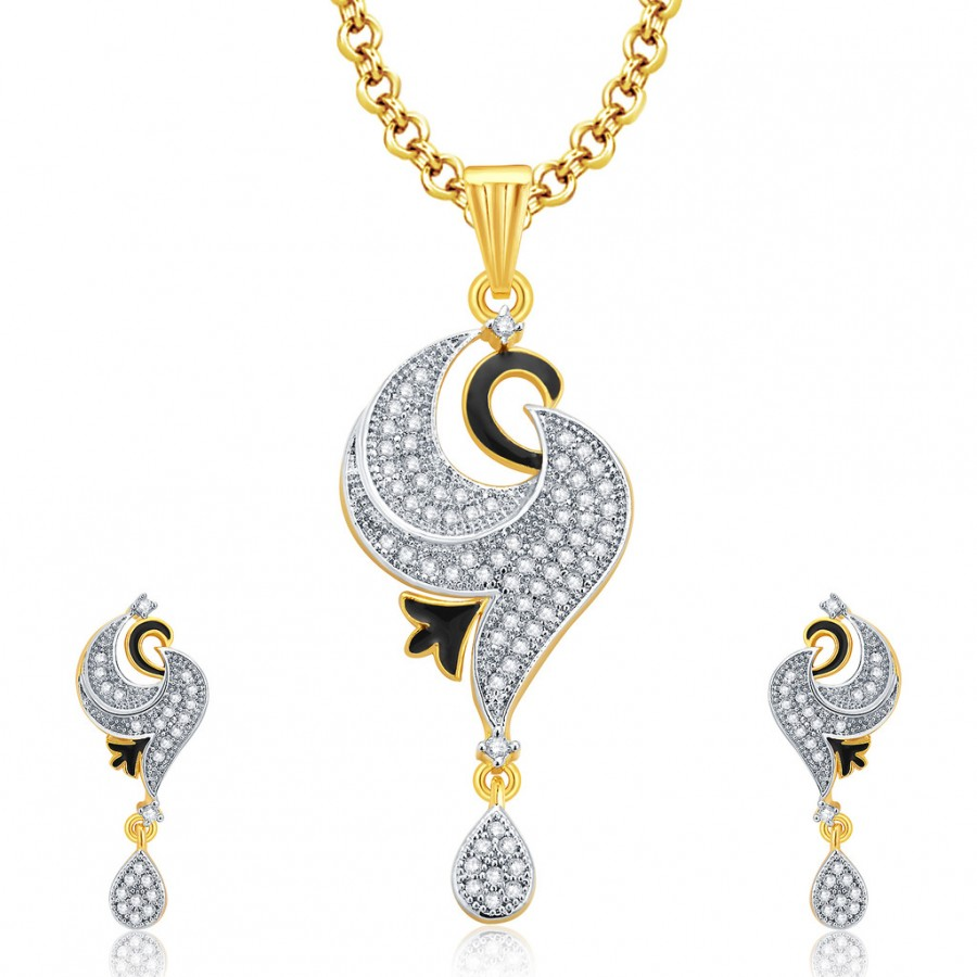 Buy Pissara Joyous Gold And Rhodium Plated CZ Pendant Set For Women Online