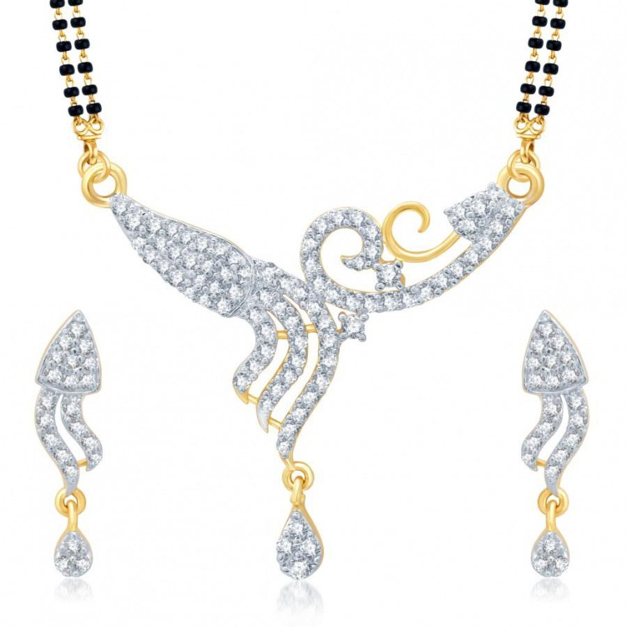 Buy Pissara Classic Gold and Rhodium Plated Cubic Zirconia Stone Studded Mangalsutra Set Online