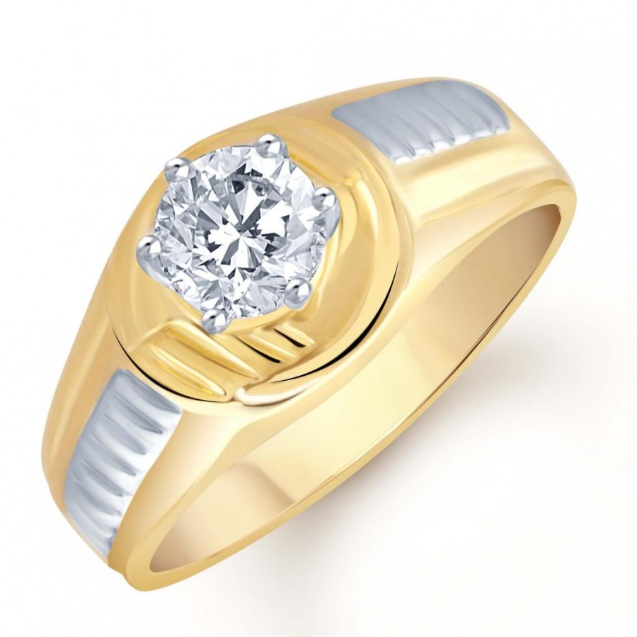 Buy Pissara Gold and Rhodium Plated Solitaire CZ Ring for Men(121GRK590) Online
