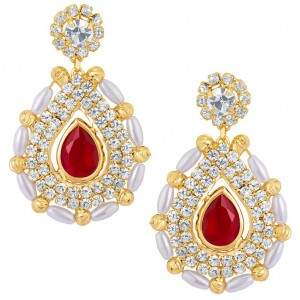 Buy Sukkhi Fabulous Gold Plated Earrings With AD and White Pearls Online