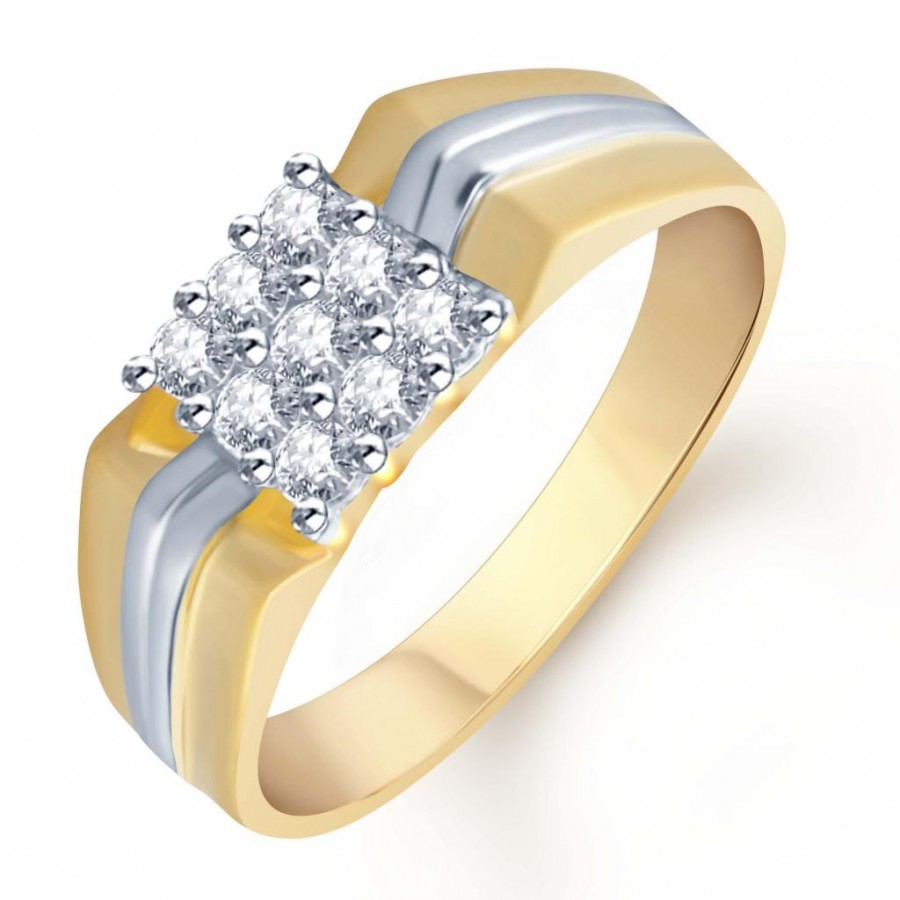 Buy Pissara Gold and Rhodium Plated CZ Ring for Men(107GRK480) Online