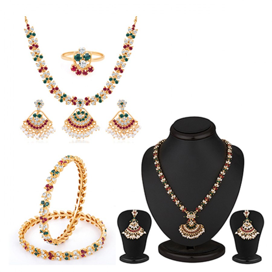 Buy Pissara Marvellous Gold and Rhodium plated Navratna Combo Online