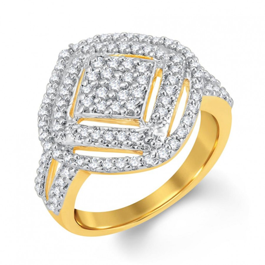 Buy Pissara Intricately Gold and Rhodium Plated Cubic Zirconia Ring Online