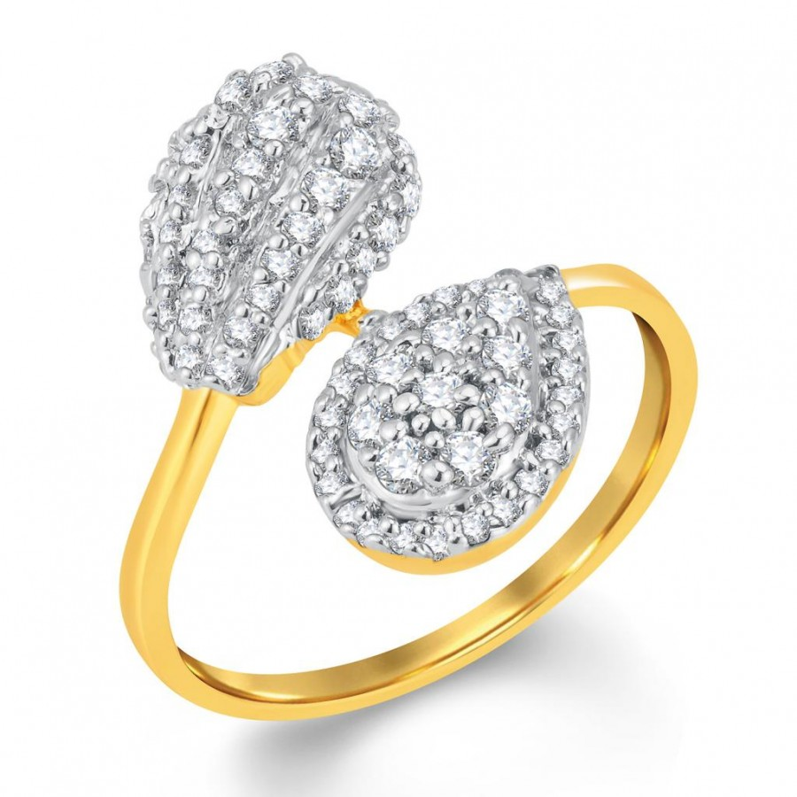 Buy Pissara Ethnic Gold and Rhodium Plated Cubic Zirconia Ring Online