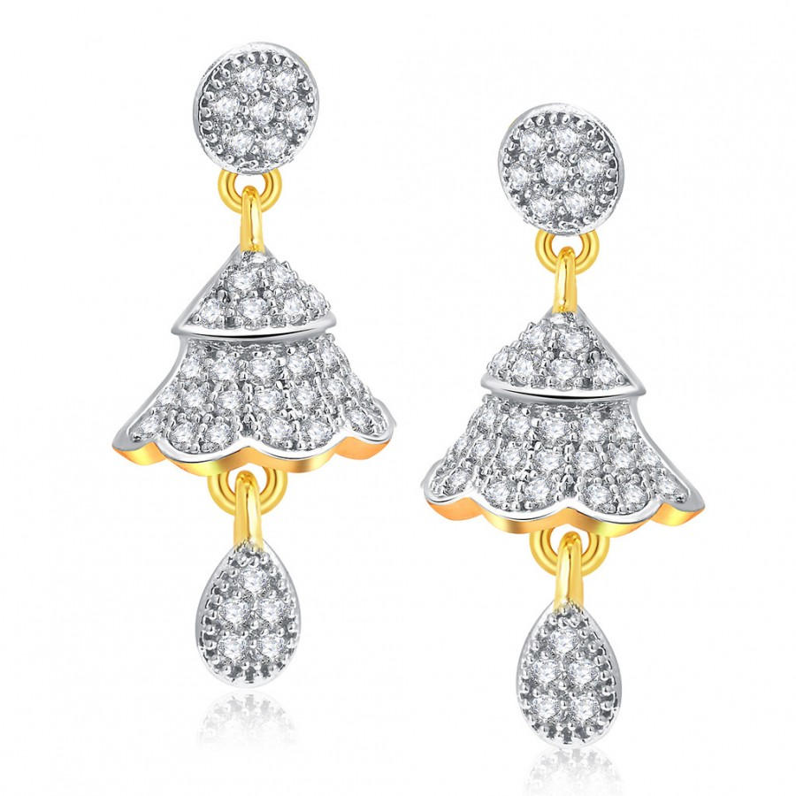 Buy Pissara Fascinating Gold And Rhodium Plated CZ Jhumki For Women Online