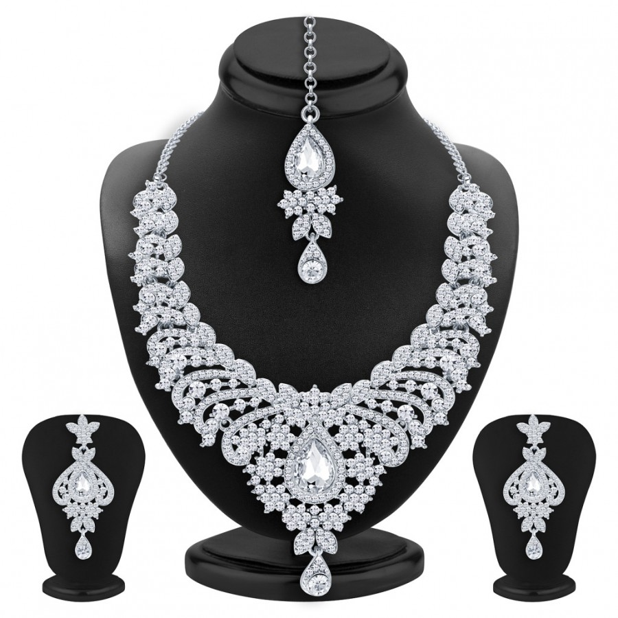 Buy Sukkhi Ethnic Rhodium Plated AD Necklace Set For Women Online