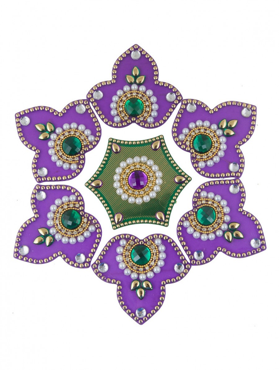 Buy Sukkhi Purple and Green 7 piece Ready to Assemble Rangoli Set Online