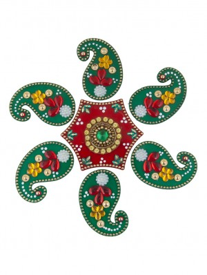 Buy Sukkhi 7 Piece Exclusive Ready To Assemble Red and Green Rangoli Set Online