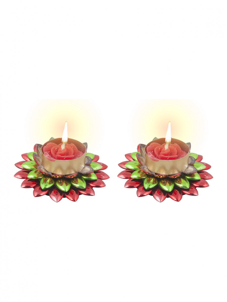 Buy Sukkhi Dual Coloured, Red and Green Floral Diya Candle Online