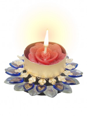 Buy Sukkhi One-of-a-kind Diya Candle in Royal Blue Online