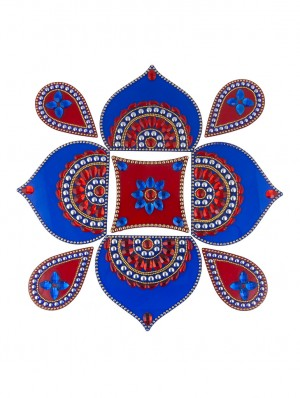 Buy Sukkhi Ready to Assemble Blue and Red Rangoli Online