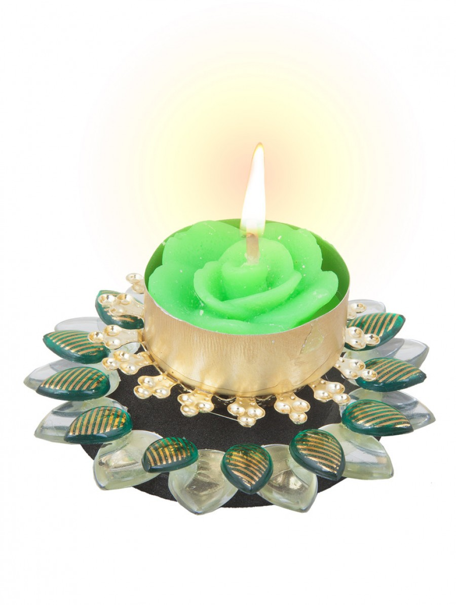 Buy Sukkhi Must-Have Floral Diya Candle in Green Online