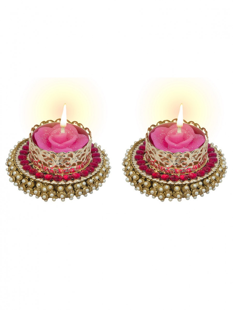 Buy Sukkhi One-Of-A-Kind Diya Candle in Pretty Pink Online