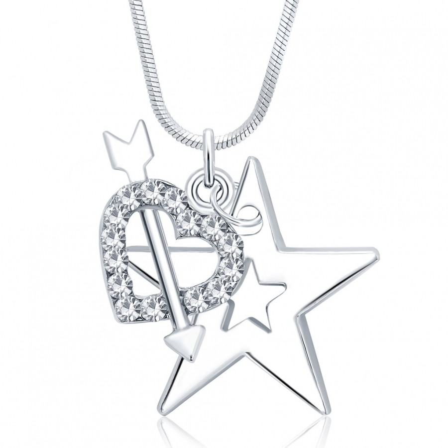 Buy Sukkhi Delightful Star Rhodium Plated Austrian Crystal Valentine Heart Pendant With Chain Online