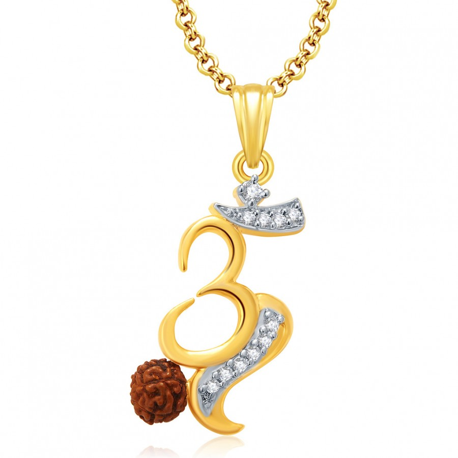 Buy Pissara Om Gold And Rhodium Plated CZ Pendant Set For Women Online