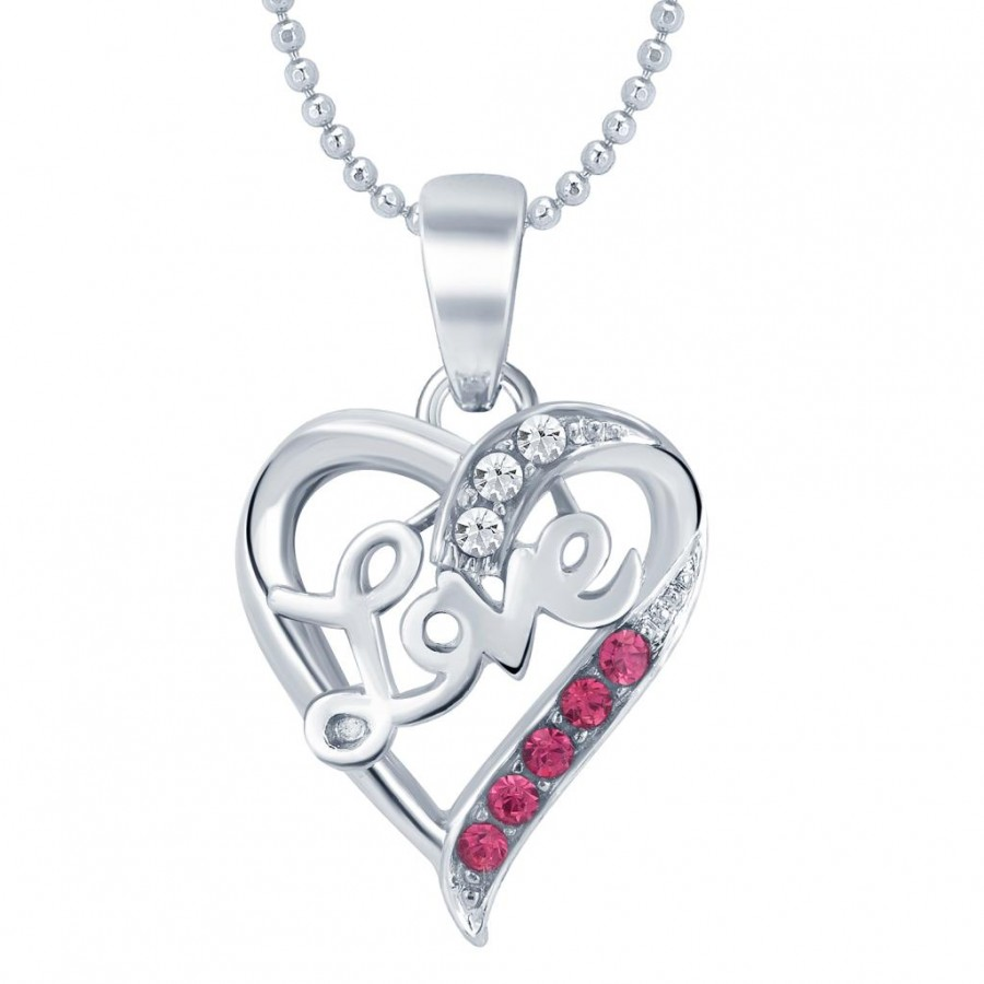 Buy Sukkhi Lavish Rhodium Plated Valentine Heart Pendant with Chain Online