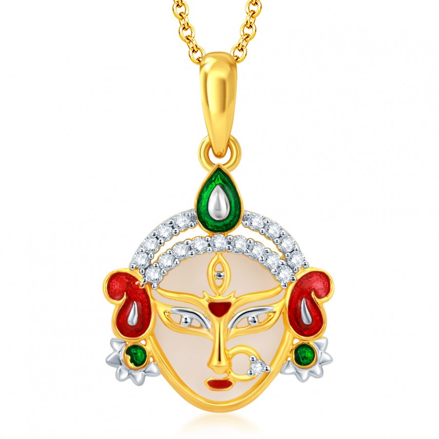Buy Pissara Glamorous Gold and Rhodium Plated CZ Ambe Maa God Pendant With Chain Online