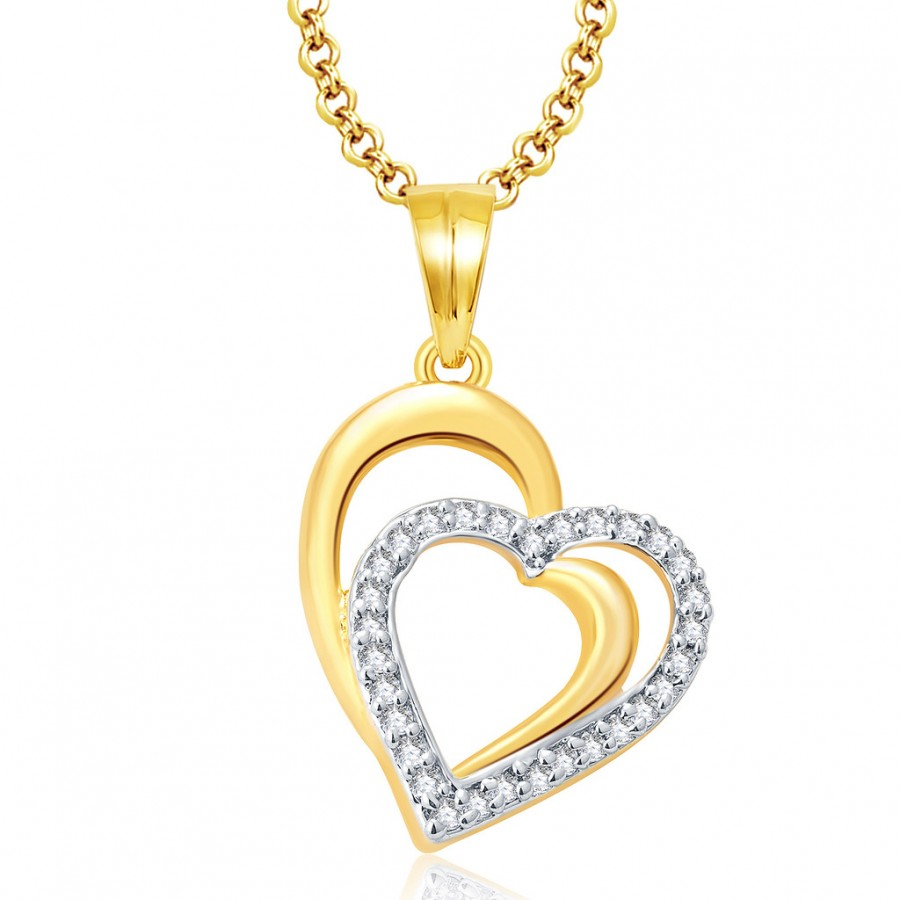 Buy Pissara Heartly Gold And Rhodium Plated CZ Pendant For Women Online