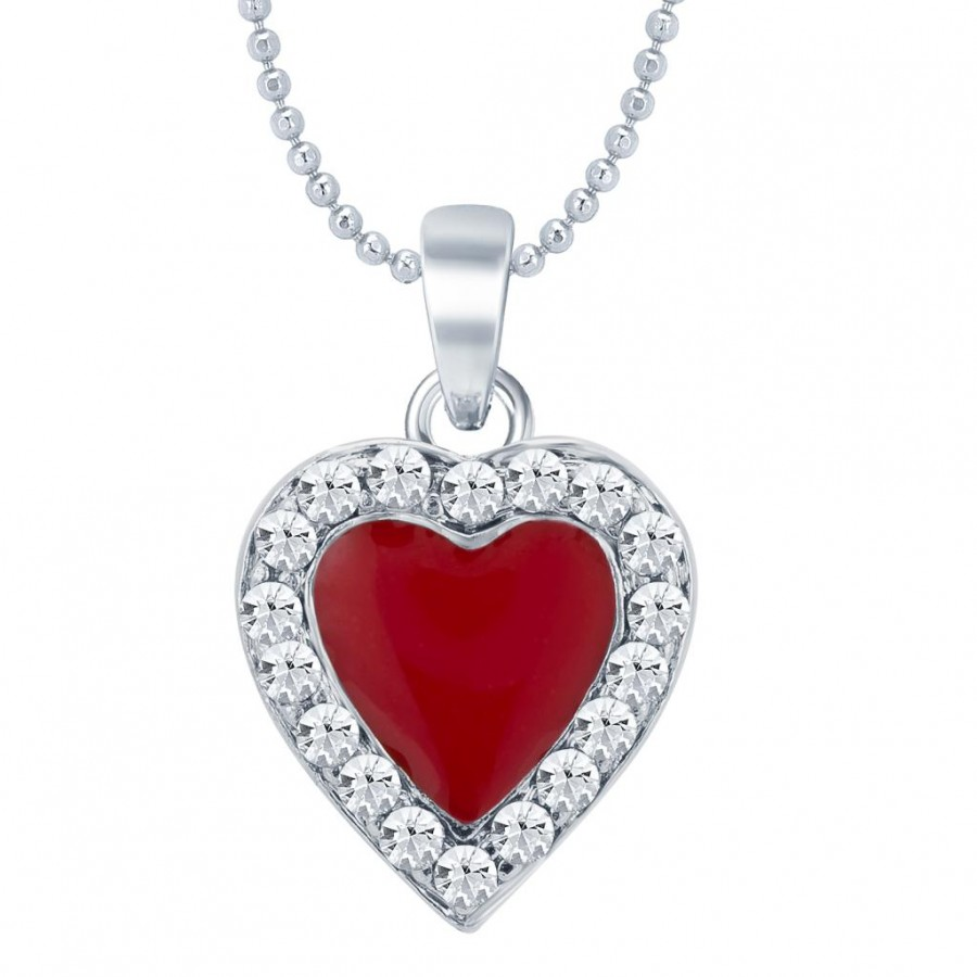 Buy Sukkhi Ritzzy Rhodium Plated Valentine Heart Pendant with Chain Online