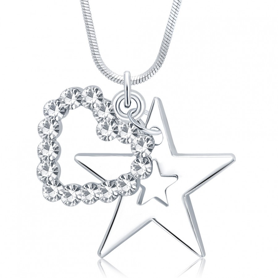 Buy Sukkhi Artistically Star Rhodium Plated Austrian Crystal Valentine Heart Pendant With Chain Online