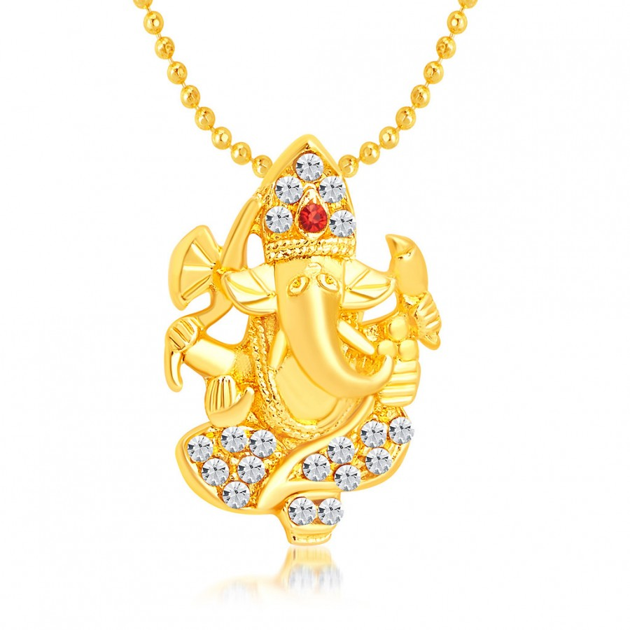 Buy Sukkhi Modish Ganeshji Gold Plated AD Pendant For Unisex Online