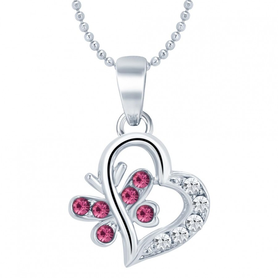 Buy Sukkhi Romantic Rhodium Plated Valentine Heart Pendant with Chain Online