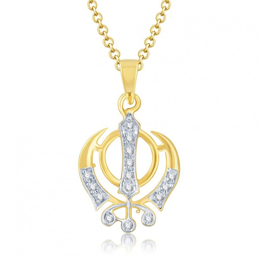 Buy Pissara Glamorous Gold and Rhodium Plated Cubic Zirconia Stone Studded God Pendant Online