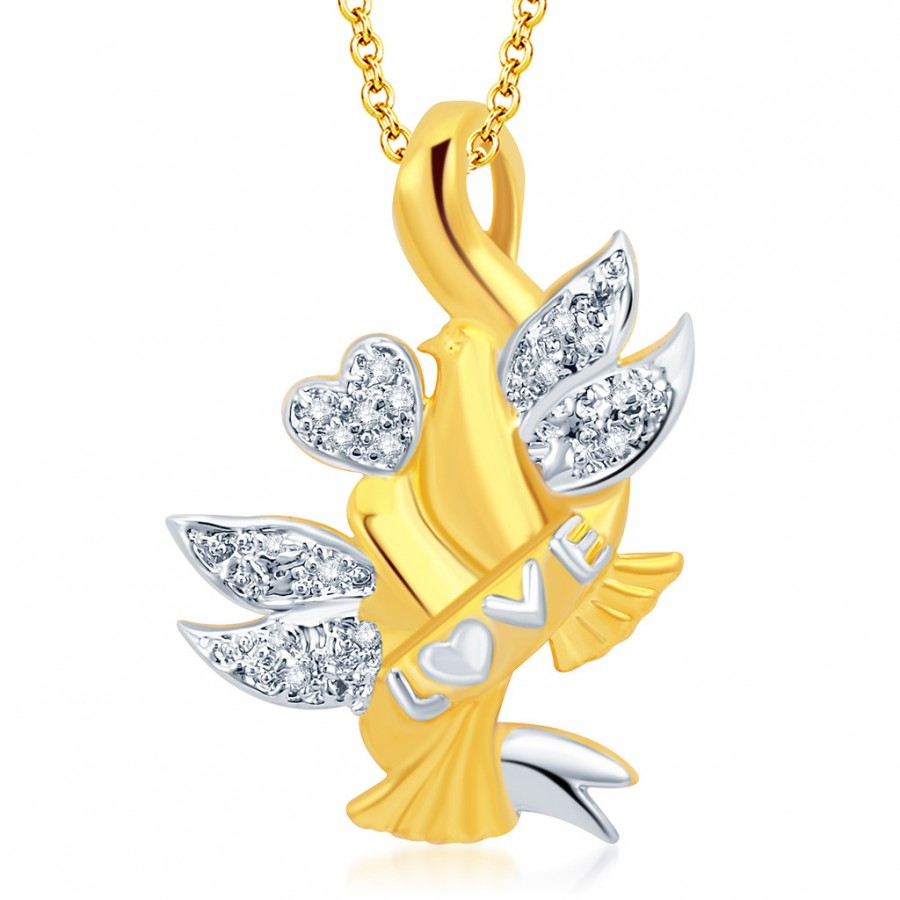 Buy Pissara Pleasing Gold and Rhodium Plated CZ Love Pendant With Chain Online