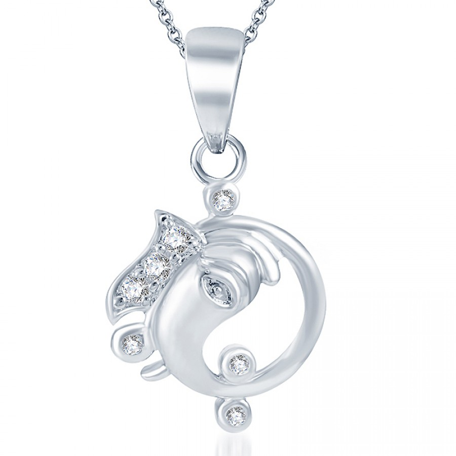 Buy Pissara Marvellous Rodium plated CZ God Pendant Online
