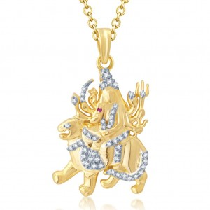 Buy Pissara Gorgeous Gold and Rhodium Plated Cubic Zirconia Stone Studded God Pendant Online