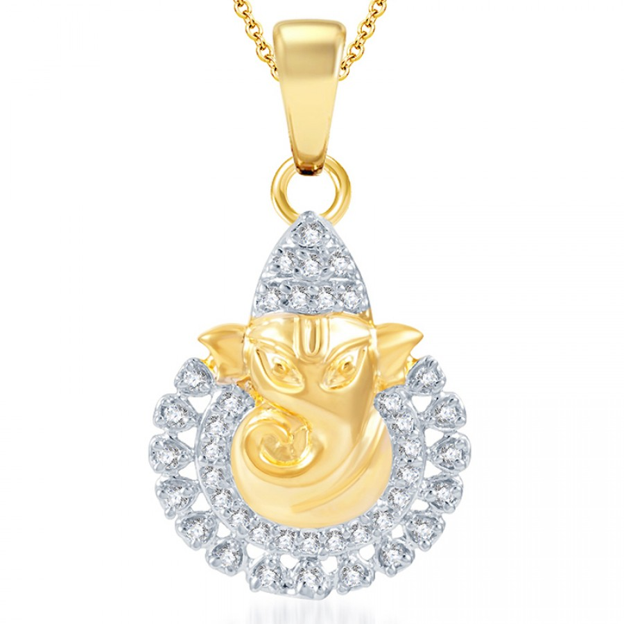 Buy Pissara Ritzzy Gold and Rhodium Plated CZ God Pendant Online