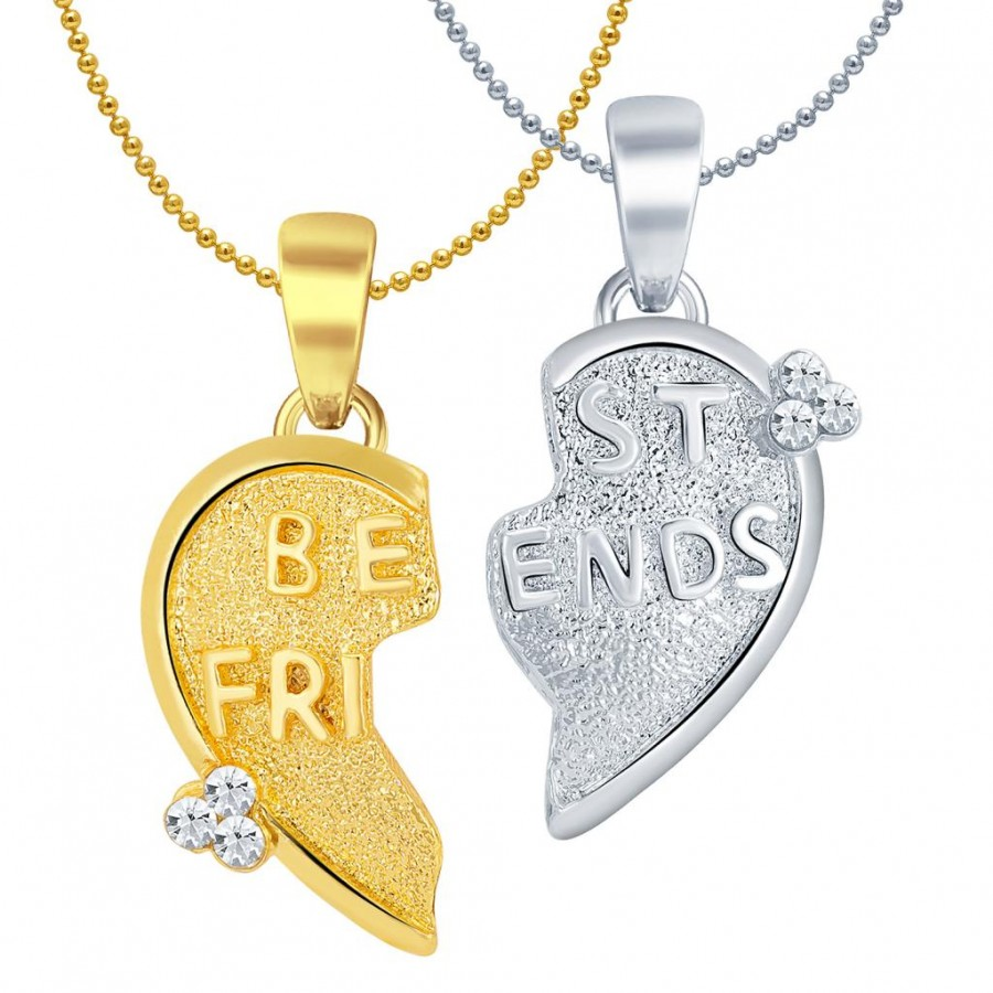 Buy Sukkhi BEST FRIENDS Gold and Rhodium Plated 2 in 1 Valentine Broken Heart Pendant with Chain Online