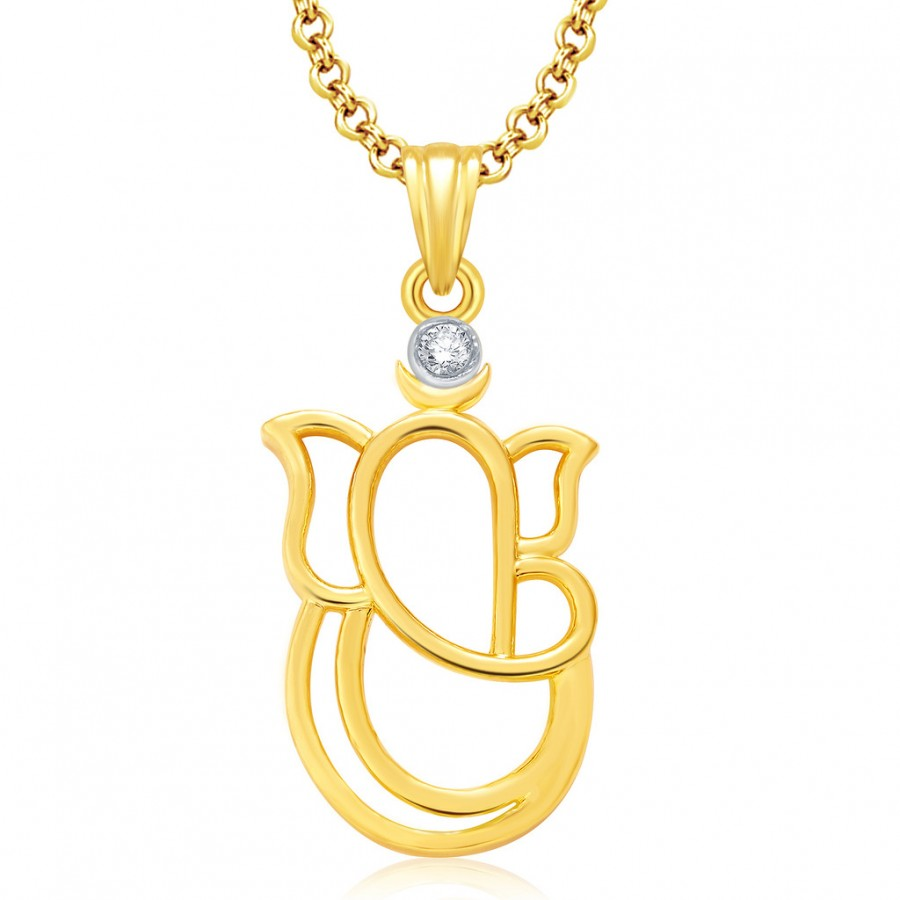 Buy Pissara Ganesha Gold And Rhodium Plated CZ Pendant Set For Women Online