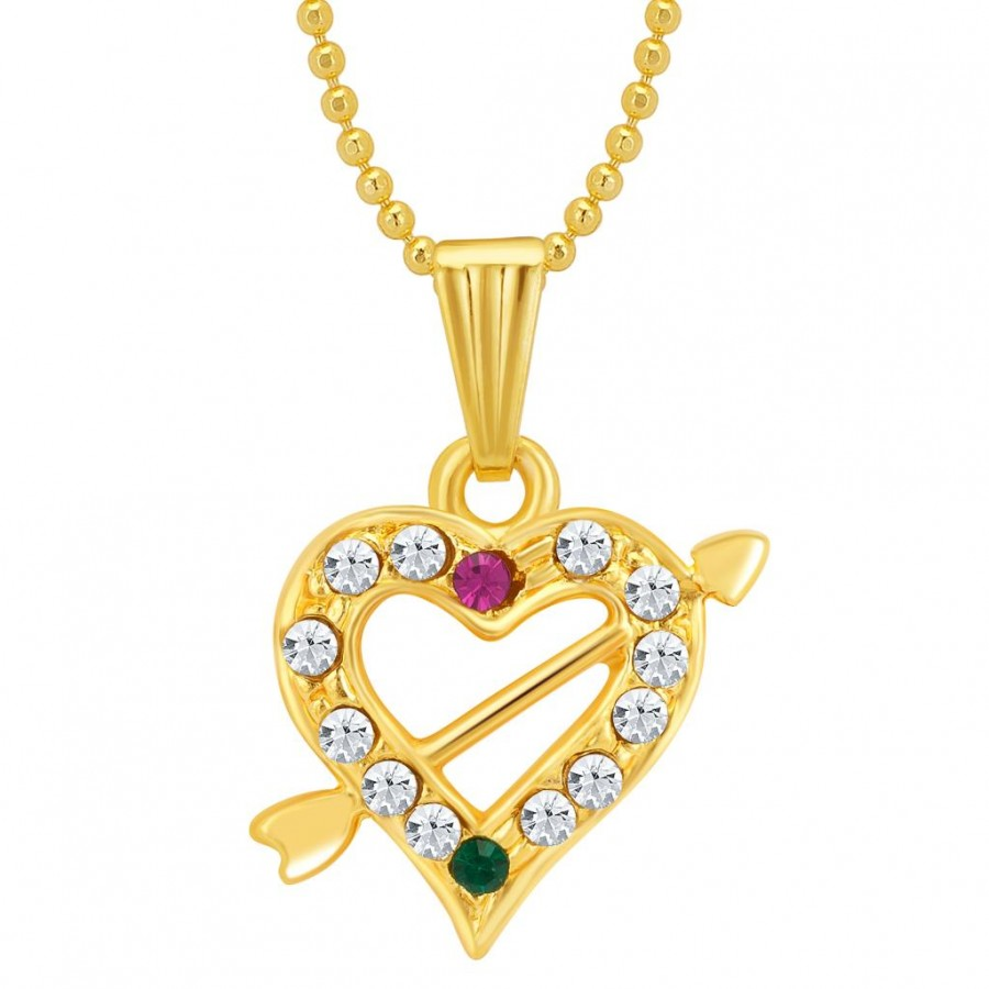 Buy Sukkhi Marquise Gold and Rhodium Plated Valentine Heart Pendant with Chain Online