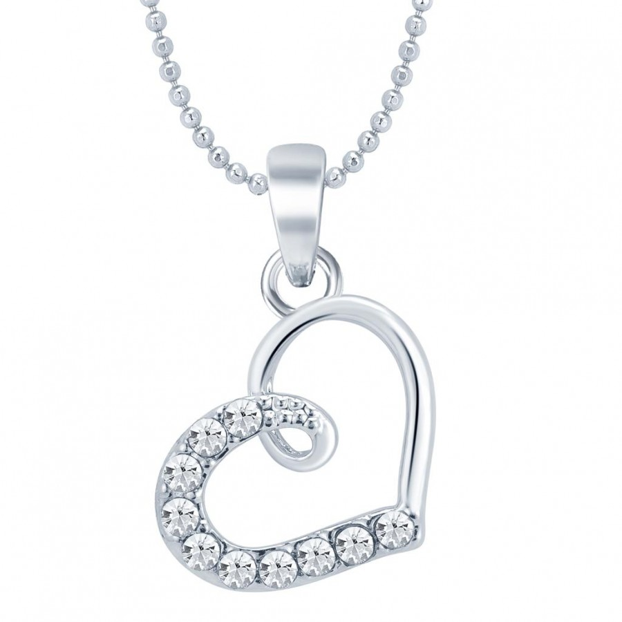 Buy Sukkhi Modern Rhodium Plated Valentine Heart Pendant with Chain Online