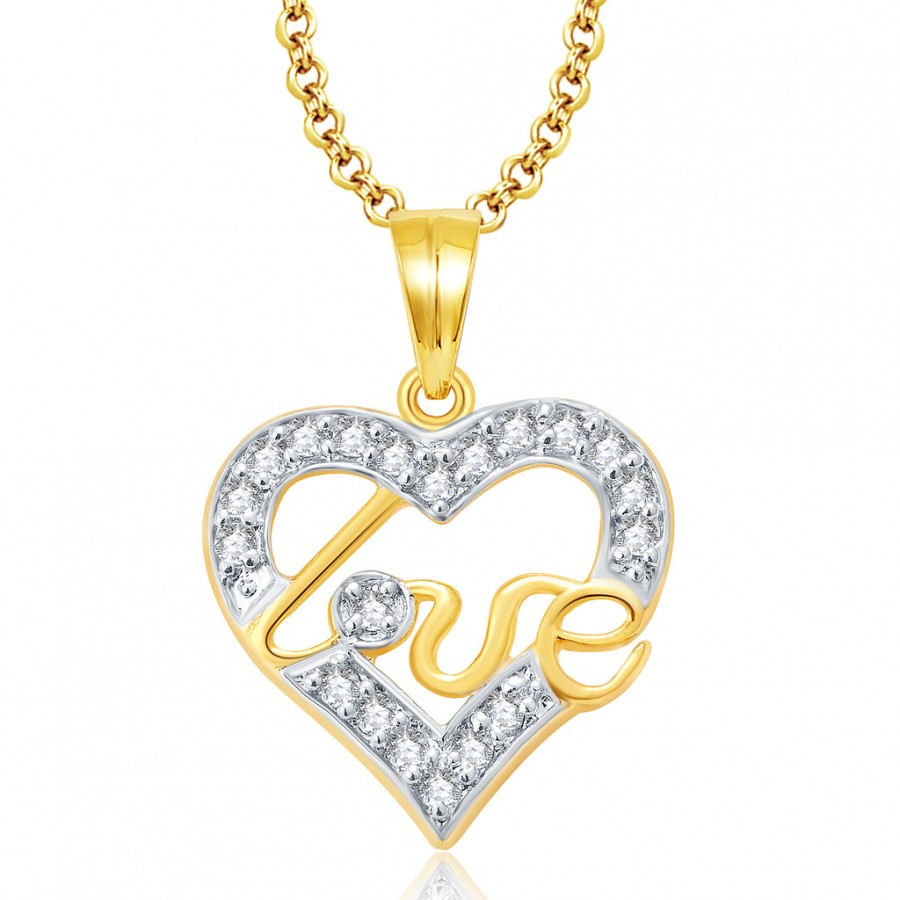 Buy Pissara Lovely Gold And Rhodium Plated CZ Pendant For Women Online