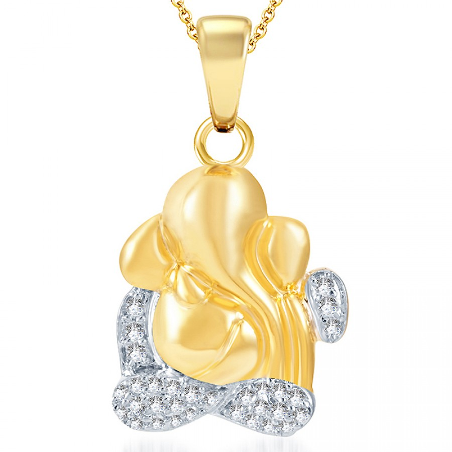 Buy Pissara Delightful Gold and Rhodium Plated CZ God Pendant Online