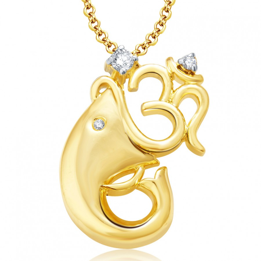 Buy Pissara Om Ganesha Gold And Rhodium Plated CZ Pendant Set For Women Online