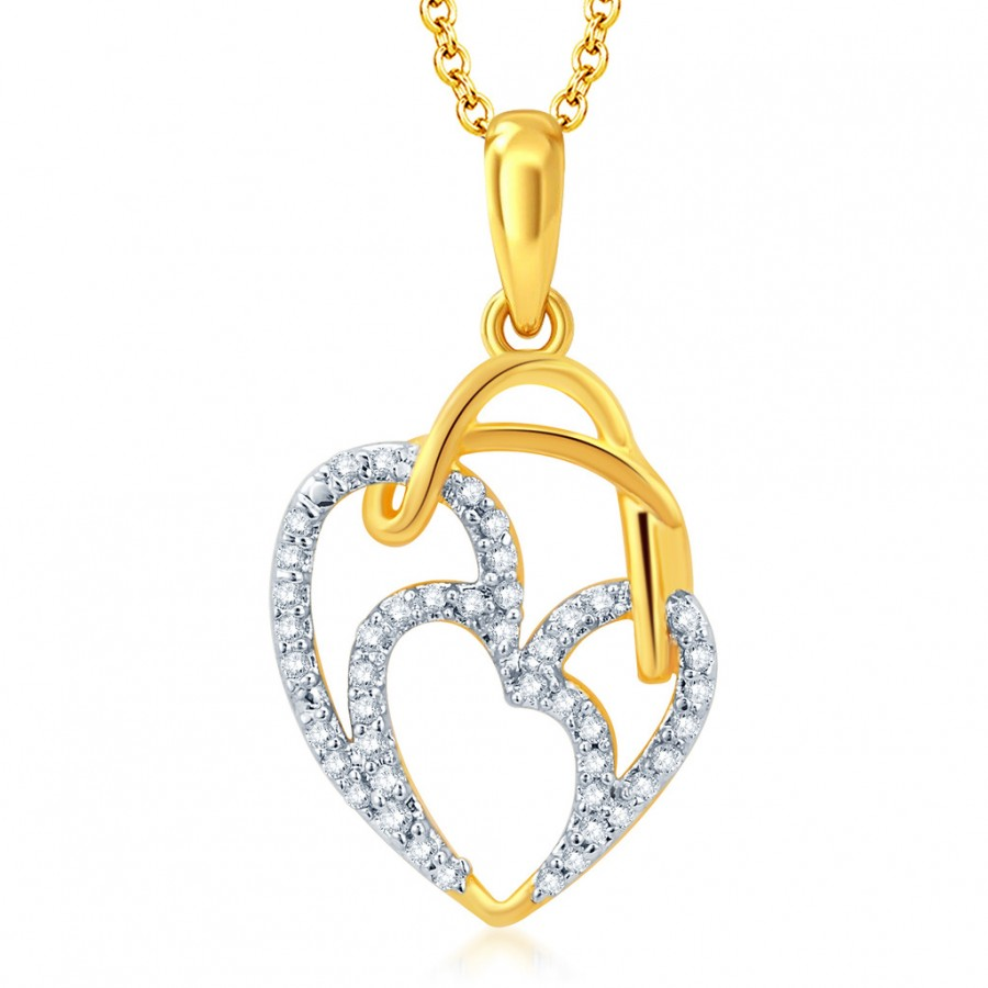Buy Pissara Incredible Gold and Rhodium Plated CZ Heart Pendant With Chain Online