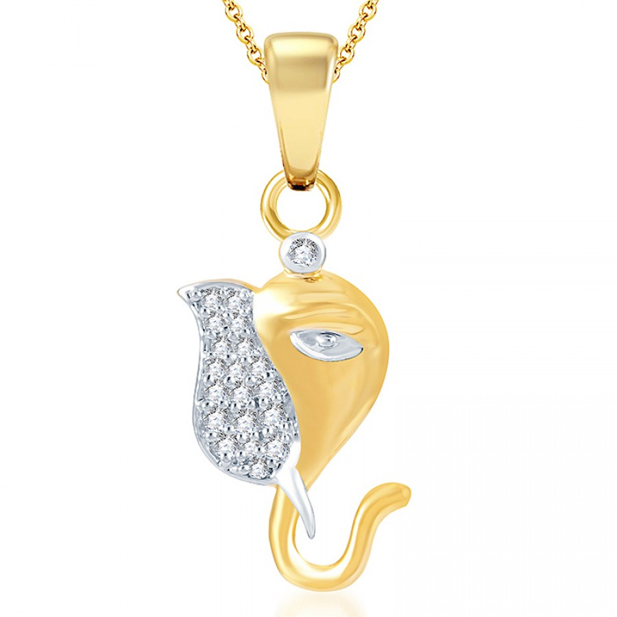 Buy Pissara Youthful Gold and Rhodium Plated CZ God Pendant Online
