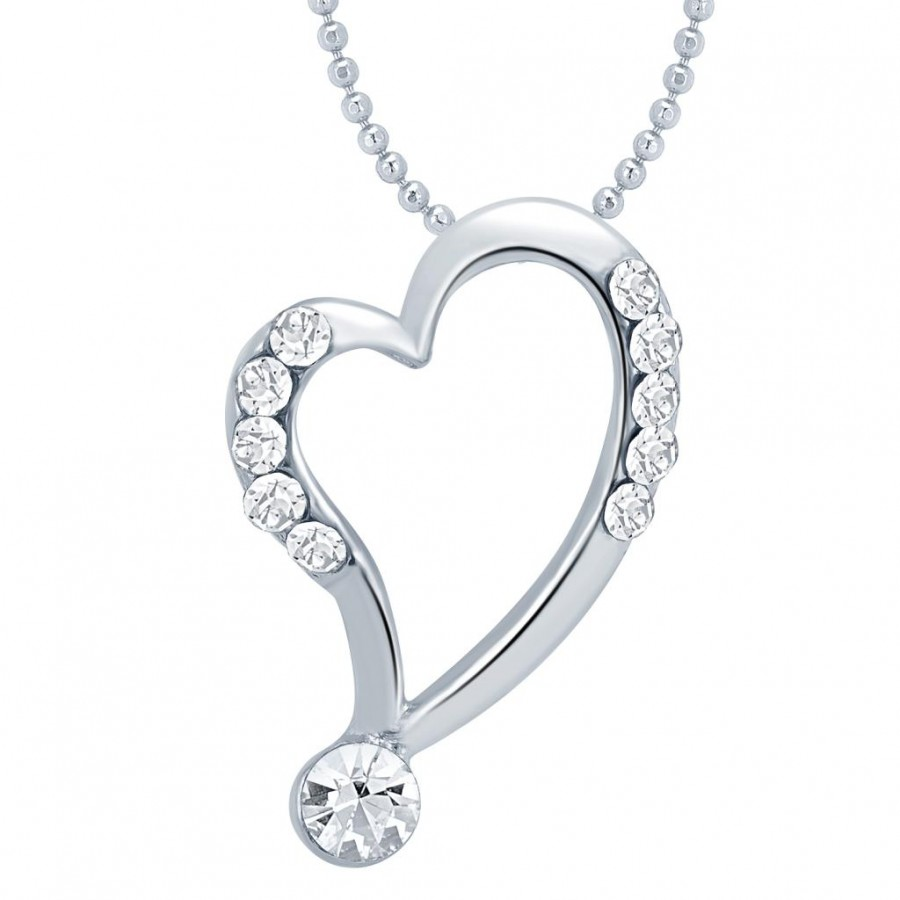 Buy Sukkhi Resplendent Rhodium Plated Valentine Heart Pendant with Chain Online