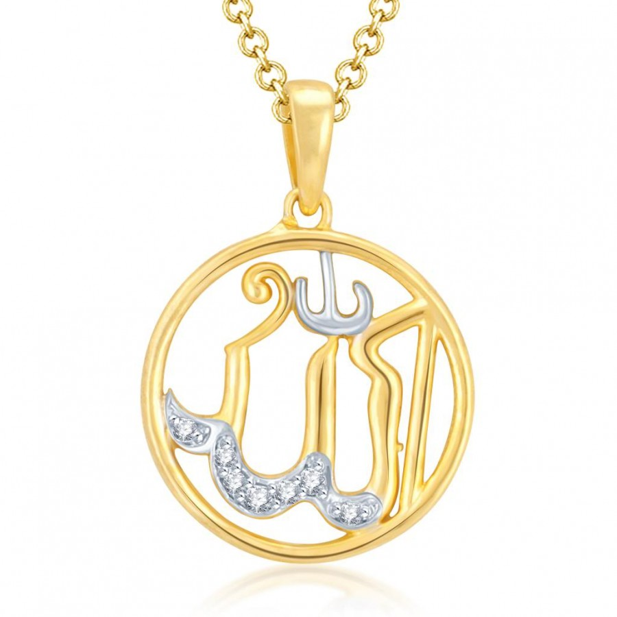 Buy Pissara Wavy Gold and Rhodium Plated Cubic Zirconia Stone Studded God Pendant Online