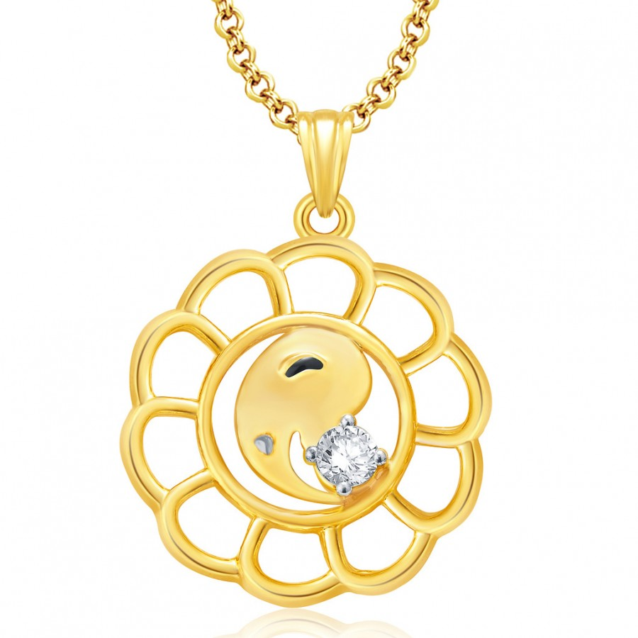 Buy Pissara Lord Ganesha Gold And Rhodium Plated CZ Pendant Set For Women Online