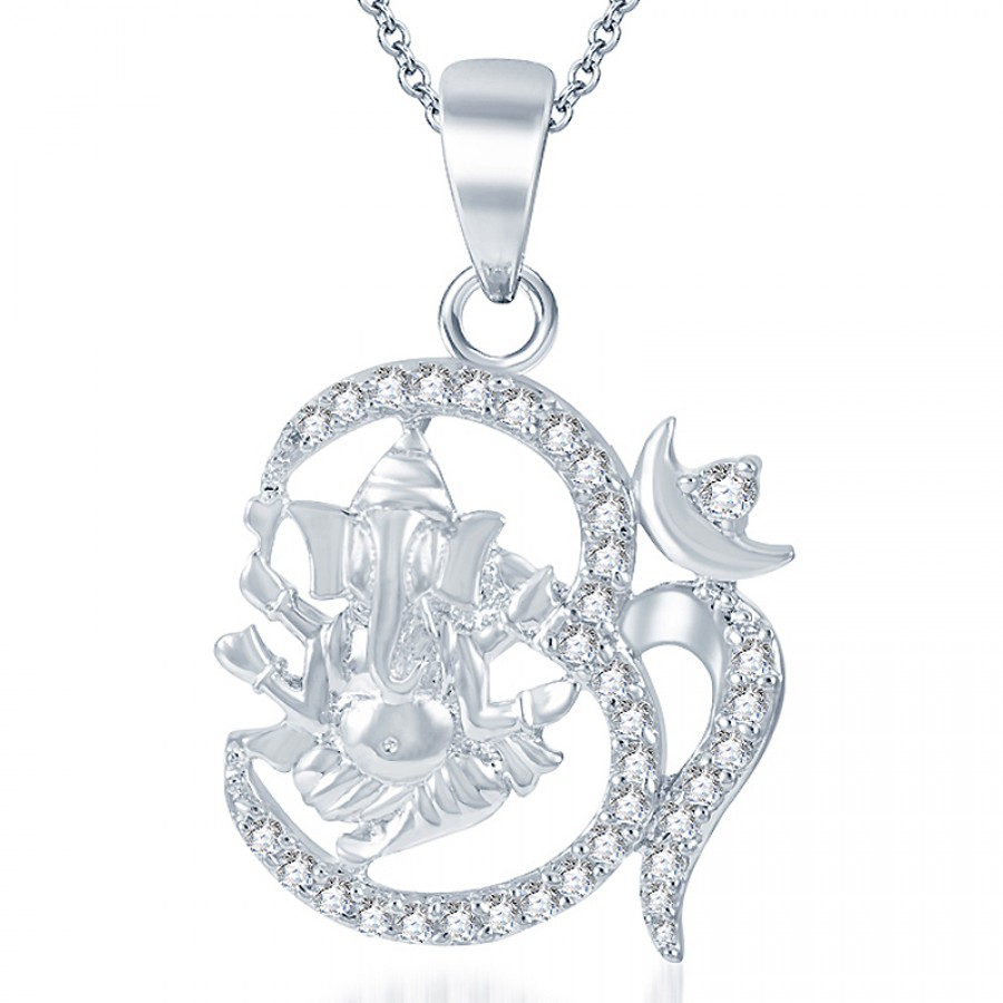 Buy Pissara Sublime Rodium plated CZ God Pendant Online