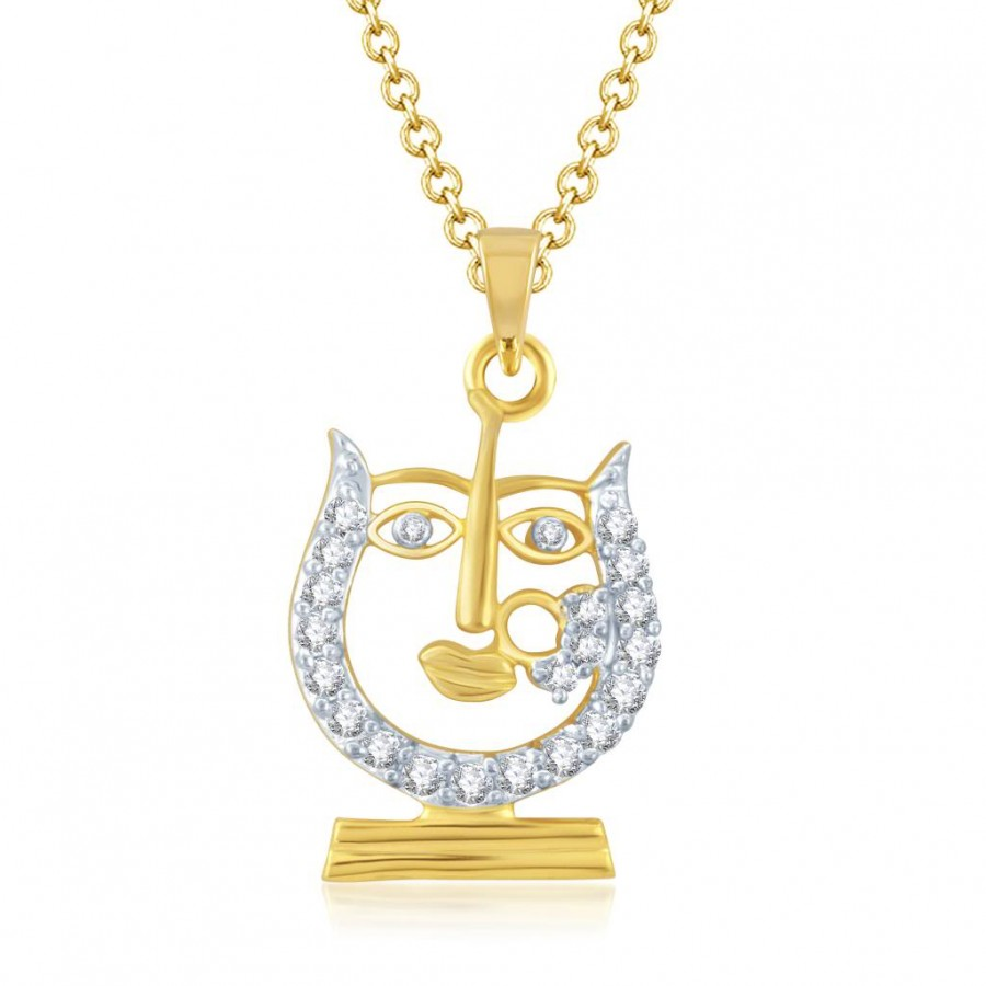 Buy Pissara Dazzling Gold and Rhodium Plated Cubic Zirconia Stone Studded God Pendant Online