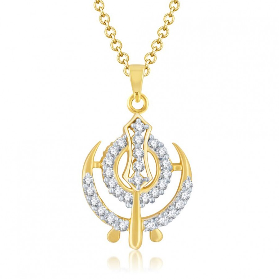 Buy Pissara Stunning Gold and Rhodium Plated Cubic Zirconia Stone Studded God Pendant Online