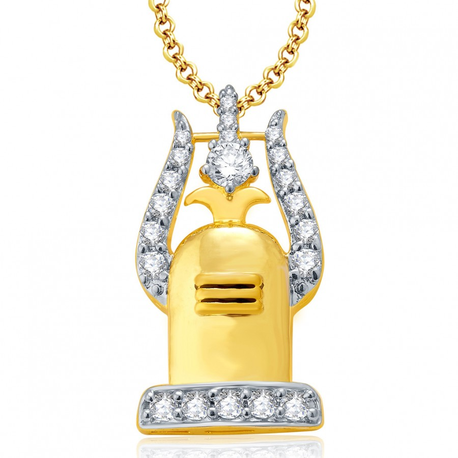 Buy Pissara Trishul Shivling Gold And Rhodium Plated CZ Pendant Set For Women Online