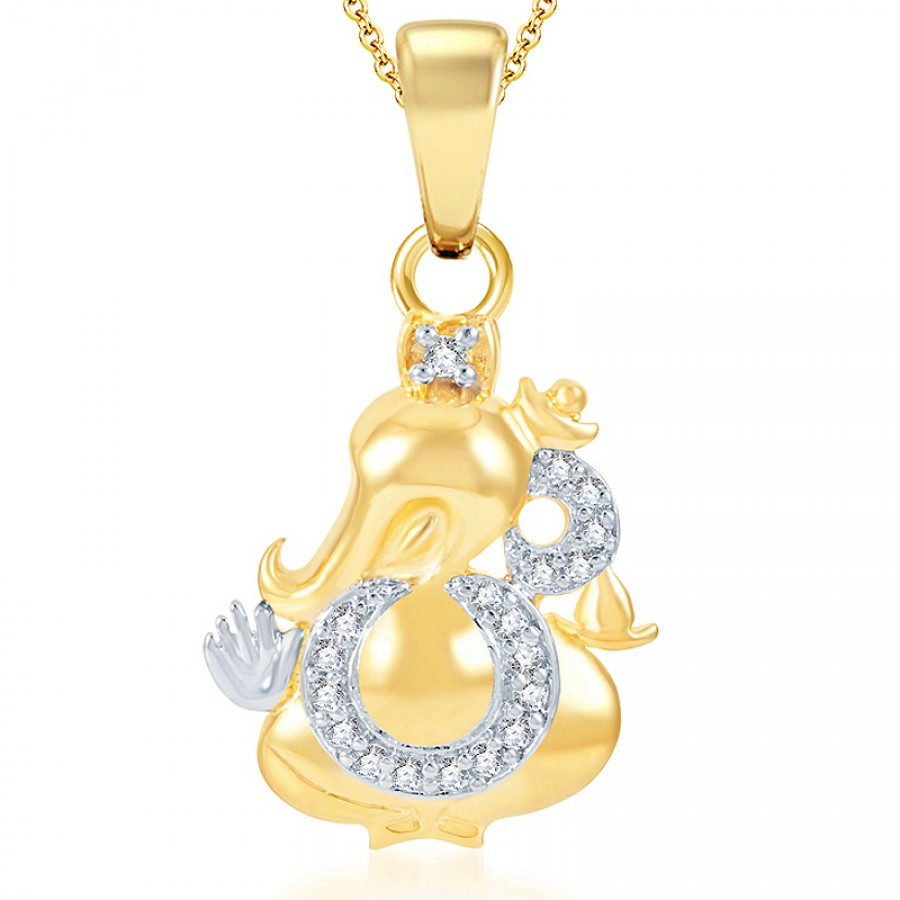 Buy Pissara Modern Gold and Rhodium Plated CZ God Pendant Online
