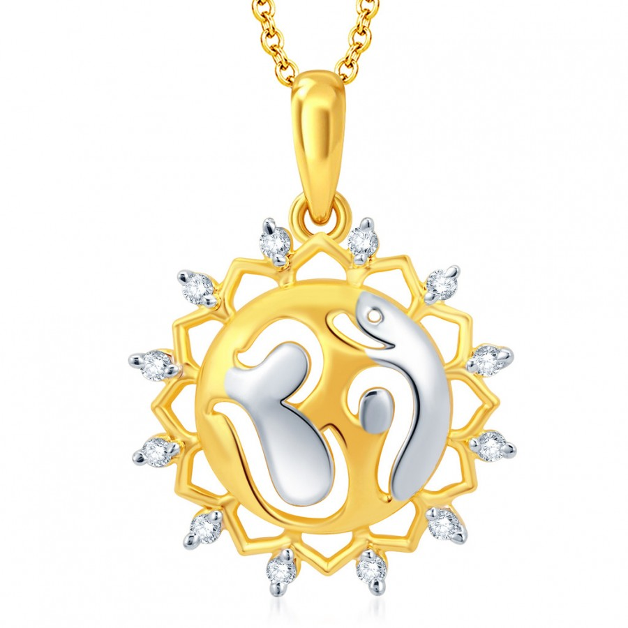 Buy Pissara Fascinating Gold and Rhodium Plated CZ Om God Pendant With Chain Online