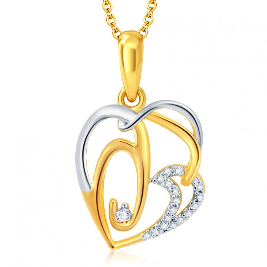 Buy Pissara Graceful Gold and Rhodium Plated CZ Heart Pendant With Chain Online